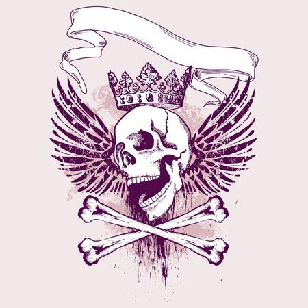 skull tattoo: Vector illustratie met schedel en grunge elementen, perfect voor kleding af te drukken