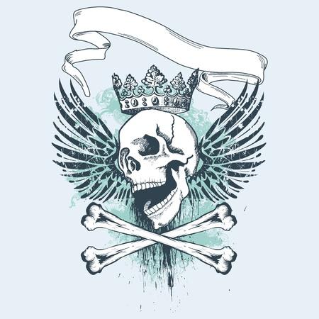 skull tattoo: Vector illustratie met schedel en grunge elementen, ideaal voor kleding printen