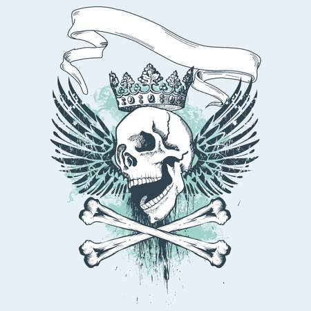 Vector illustration with skull and grunge elements, perfect for apparel print Vector