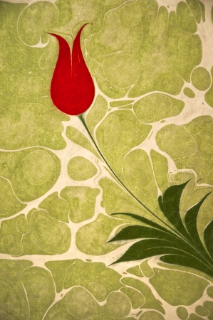 marbling: Beautiful tulip artwork painted on water and transferred to parchment, classical Turkish art