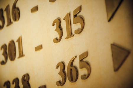 Direction for hotel room numbers on a hotel corridor wall, close up Stock Photo - 10874962