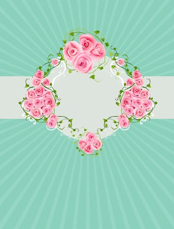 Vintage vector background with beautiful pink roses Vector