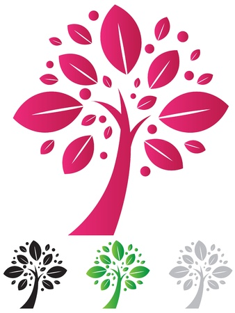 artistic logo: Elegant tree icon vector with color varieties Illustration