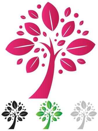 logos de empresas: �rbol elegante vector icono con variedades de color Vectores