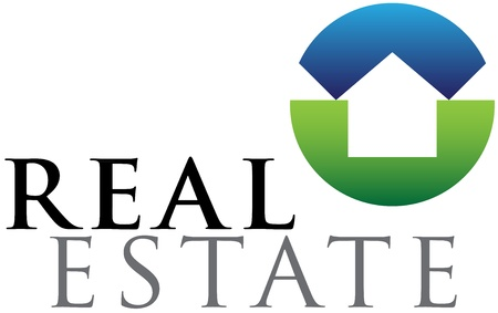 communication logo: Green and blue vector emblem for housing and real estate businesses Illustration