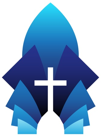 Vector illustration of blue cross symbol, emblem of Christianity Vector