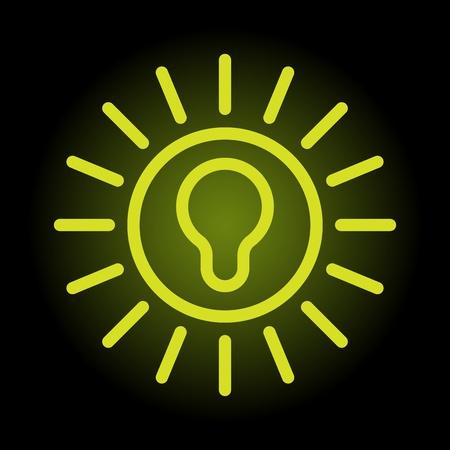 iluminados: Icono verde bombilla simple y elegante sobre fondo negro iluminado Vectores