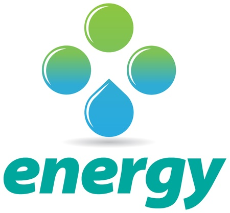 natural energy: An abstract logo with waterdrops symbolizing natural energy and water