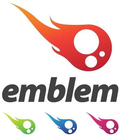loghi aziendali: Elemento di business corporate design, emblema come palla di fuoco o di semi di sperma con le variazioni di colore