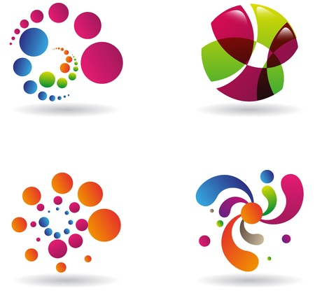 Collection of four vivid sci-fi abstract designs, icons or emblems Vector