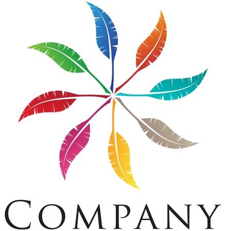 moinhos de vento: Elegant feather logo design for your business Ilustração