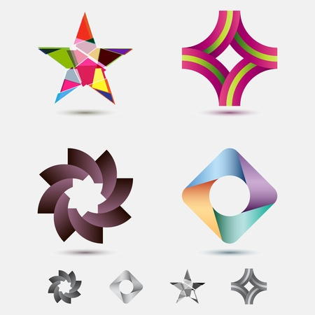 leaf logo: A collection of geometric and modern icons and emlems with greyscale variations Illustration