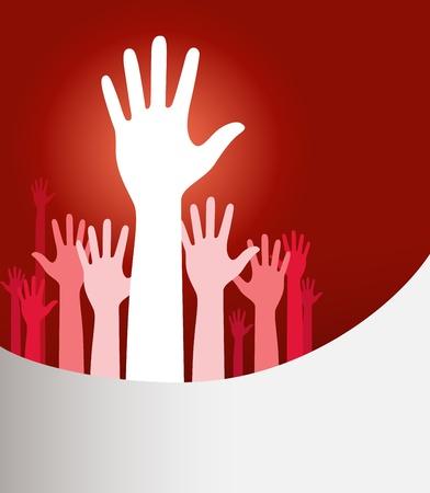 verkiezingen: Vector achtergrond illustratie met opgeheven handen en kopieer de ruimte op rood
