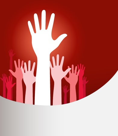 volunteer point: Vector background illustration with raised hands and copy space on red Illustration