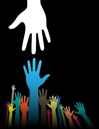 Background illustration vectorielle d'aider notion main sur noir Vecteurs