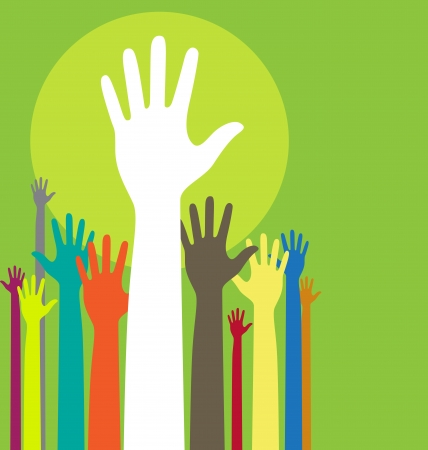 volunteering: background illustration with raised hands and copy space on green