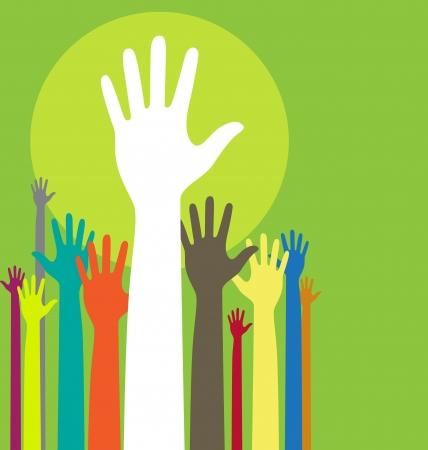 manos levantadas: ilustración de fondo con las manos levantadas y el espacio de copia en color verde