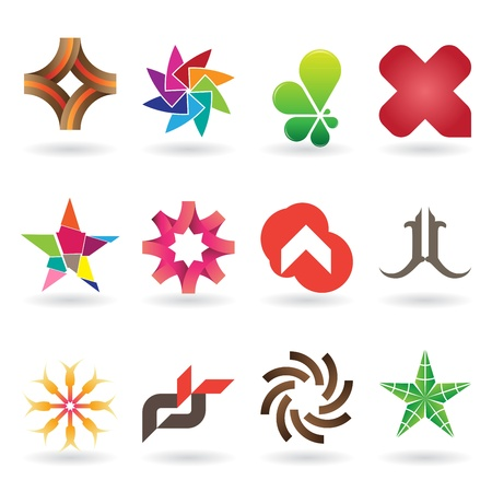 rainbow color star: A collection of modern and and fresh logos or icons, 12 original pieces