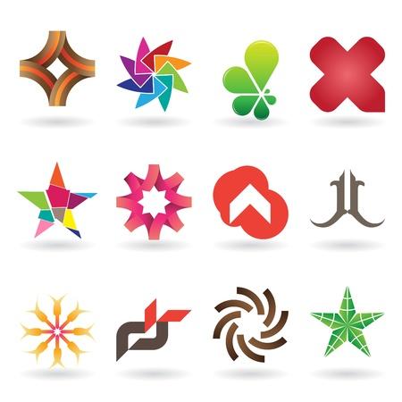 logos negocios: Una colecci�n de logos modernos y frescos y los iconos o, 12 piezas originales