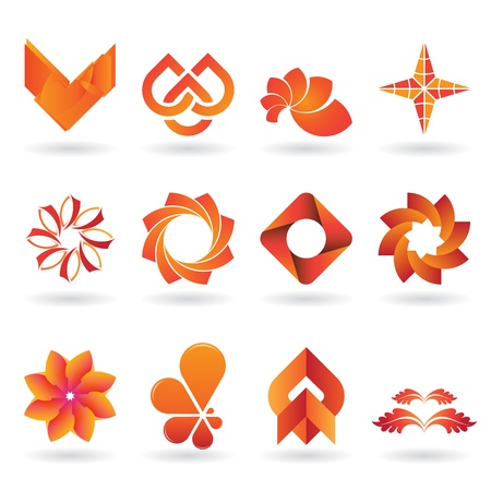 leaf logo: A collection of modern and and fresh logos or icons in orange tones, 12 original pieces Illustration