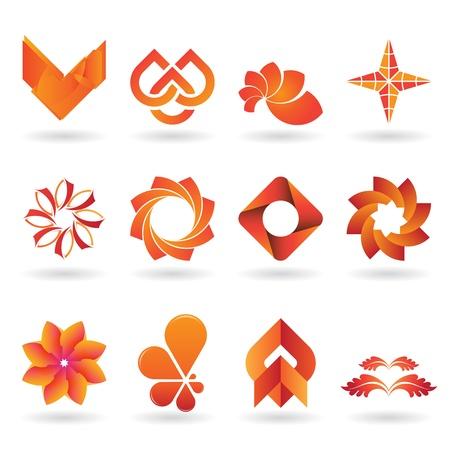 merken: Een verzameling van moderne en en fris logo's of pictogrammen in oranje tinten, 12 originele stukken