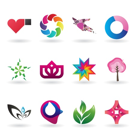 A collection of modern and and fresh logos or icons, 12 original pieces Stock Vector - 11266484