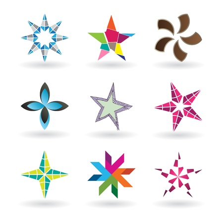 rainbow color star: A very modern and fresh star icon designs