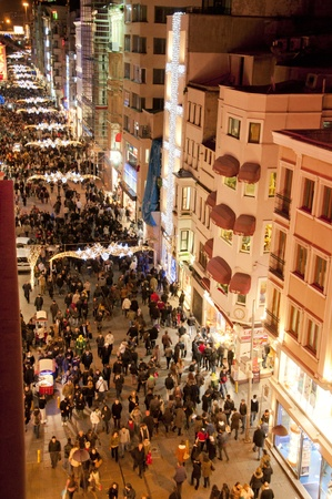 street shots: One of the most exciting tourist destinations, the historic Istiklal Street by night, Istanbul, Turkey Stock Photo