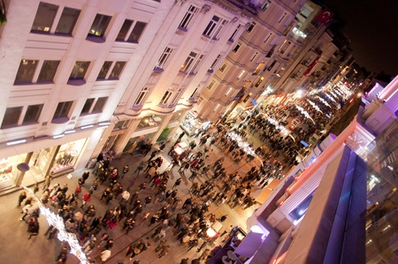 One of the most exciting tourist destinations, the historic Istiklal Street by night, Istanbul, Turkey