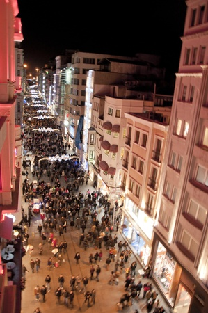 most: One of the most exciting tourist destinations, the historic Istiklal Street by night, Istanbul, Turkey Stock Photo