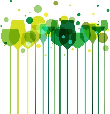 Una bella composizione di bicchieri di alcol, con decorazioni in vari colori