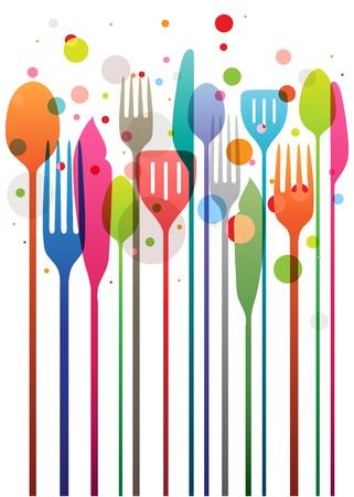 Hermosa ilustración vectorial con varios colores utensilios para todo tipo de diseños relacionados con los alimentos