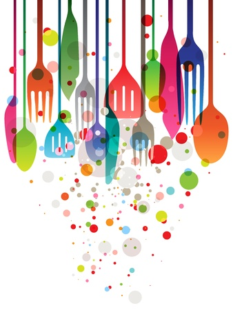 Beautiful vector illustration with multi-colored utensils for all kind of food related designs Illustration