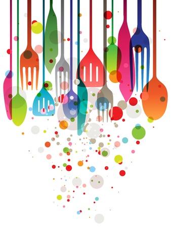 cuisine: Belle illustration vectorielle multi-couleur des ustensiles pour toutes sortes de conceptions li�es � l'alimentation Illustration