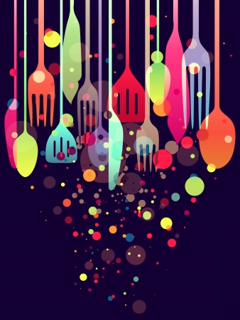 gourmet: Beautiful illustration with multi-colored utensils for all kind of food related designs Stock Photo