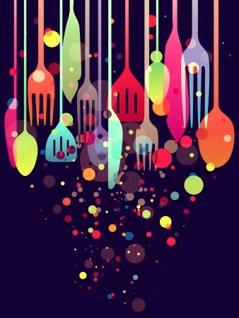 högtider: Härlig illustration med flerfärgade redskap för alla typer av livsmedelsrelaterade mönster
