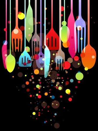 long drink: Beautiful illustration with multi-colored utensils for all kind of food related designs Stock Photo