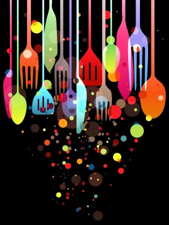 logo de comida: Ilustraci�n hermosa con multicolores utensilios para todo tipo de dise�os relacionados con los alimentos