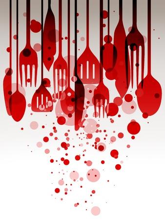 logotipos de restaurantes: Ilustración hermosa con multicolores utensilios para todo tipo de diseños relacionados con los alimentos
