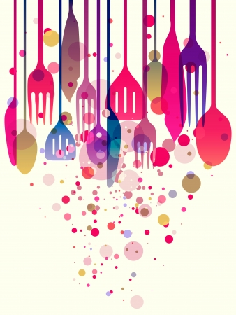 logo de comida: Hermosa ilustración de varios colores utensilios para todo tipo de diseños relacionados con los alimentos