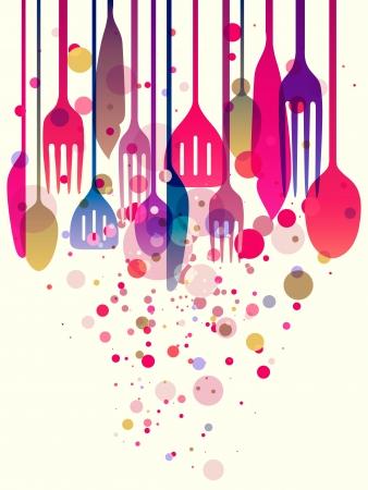 Mooie illustratie met multi-gekleurde gebruiksvoorwerpen voor alle soorten voedsel gerelateerde ontwerpen