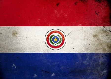 Flag of Paraguay on old and vintage grunge texture photo