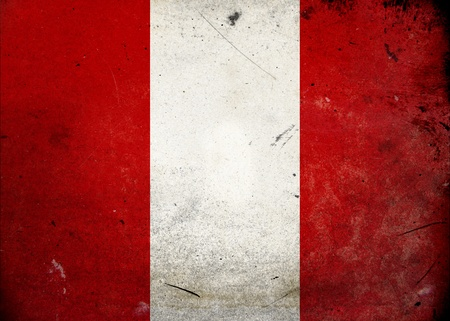 Flag of Peru on old and vintage grunge texture photo