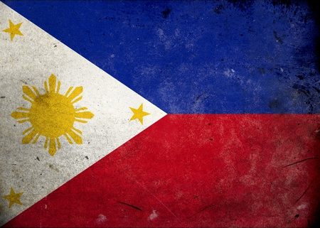 philippines  map: Flag of Philippines on old and vintage grunge texture