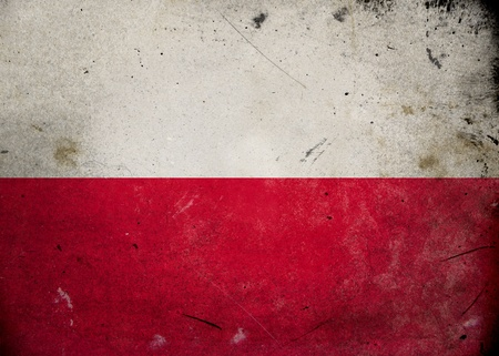bandera de polonia: Bandera de Polonia en la textura del grunge de edad y de la vendimia
