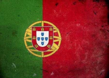 drapeau portugal: Drapeau du Portugal sur la texture grunge vieux et vintage