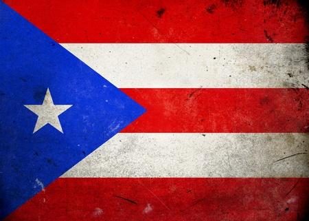bandera de puerto rico: Bandera de Puerto Rico en la textura del grunge de edad y de la vendimia Foto de archivo