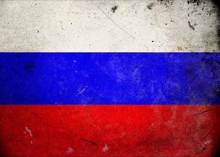 bandera rusia: Bandera de Rusia en la textura del grunge de edad y de la vendimia Foto de archivo