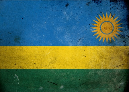 Flag of Rwanda on old and vintage grunge texture photo