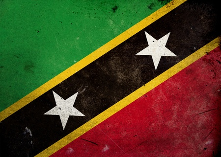 Flag of Saint Kitts and Nevis on old and vintage grunge texture photo